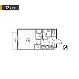 都営大江戸線 牛込柳町駅 徒歩7分の賃貸マンション 1階1Kの間取り