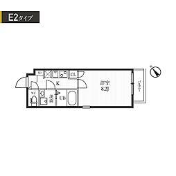都営大江戸線 牛込柳町駅 徒歩7分の賃貸マンション 3階1Kの間取り