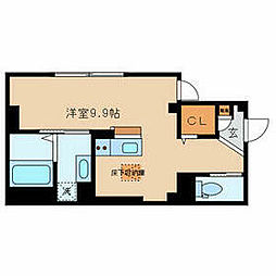 東京メトロ千代田線 根津駅 徒歩4分の賃貸マンション 1階ワンルームの間取り