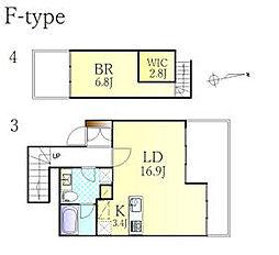 JR東海道本線 沼津駅 徒歩21分の賃貸マンション 3階1SLDKの間取り
