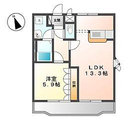 湘南新宿ライン高海 北鴻巣駅 6.4kmの賃貸アパート 1階1LDKの間取り