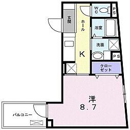 都営大江戸線 西新宿五丁目駅 徒歩11分の賃貸マンション 4階1Kの間取り