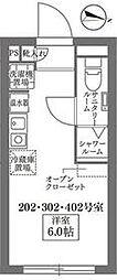 東武東上線 大山駅 徒歩3分の賃貸マンション 2階ワンルームの間取り
