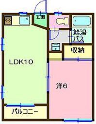 JR内房線 長浦駅 徒歩18分の賃貸アパート 1階1DKの間取り