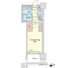 JR山手線 田町駅 徒歩10分の賃貸マンション 10階ワンルームの間取り