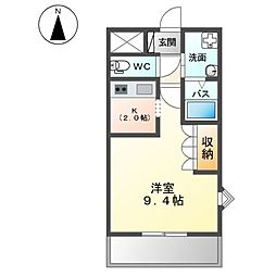 東武桐生線 赤城駅 徒歩15分の賃貸アパート 1階1Kの間取り