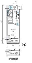 都営新宿線 浜町駅 徒歩3分の賃貸マンション 7階1Kの間取り