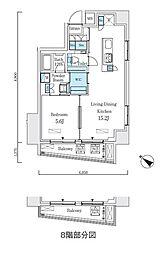 都営新宿線 浜町駅 徒歩3分の賃貸マンション 8階1LDKの間取り