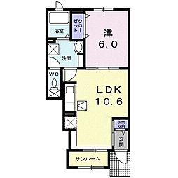 JR東海道本線 豊橋駅 バス11分 元下地下車 徒歩6分の賃貸アパート 1階1LDKの間取り