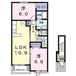 東武桐生線 藪塚駅 徒歩20分の賃貸アパート 2階2LDKの間取り