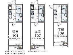 クレイノファミーユ東大宮 2階1Kの間取り