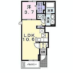 JR両毛線 前橋大島駅 徒歩17分の賃貸アパート 1階1LDKの間取り