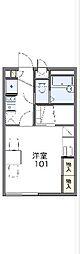 西武多摩川線 競艇場前駅 徒歩4分の賃貸アパート 1階1Kの間取り