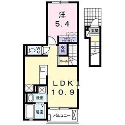 湘南新宿ライン高海 北本駅 徒歩24分の賃貸アパート 2階1LDKの間取り