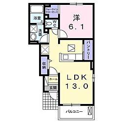 JR高崎線 鴻巣駅 徒歩19分の賃貸アパート 1階1LDKの間取り