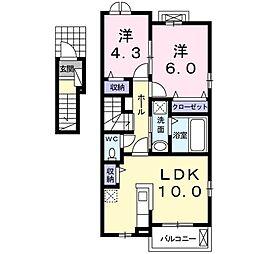 JR高崎線 熊谷駅 バス25分 大沼公園下車 徒歩14分の賃貸アパート 2階2LDKの間取り