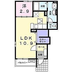 高松琴平電気鉄道琴平線 太田駅 バス20分 横田下車 徒歩7分の賃貸アパート 1階1SKの間取り