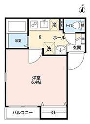 JR総武線 新小岩駅 徒歩12分の賃貸マンション 2階1Kの間取り