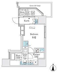 東京メトロ日比谷線 入谷駅 徒歩5分の賃貸マンション 14階1Kの間取り