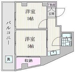 JR山手線 大塚駅 徒歩9分の賃貸マンション 4階2Kの間取り