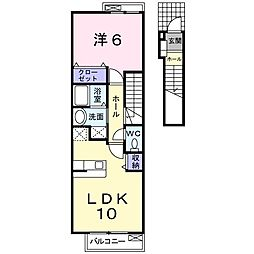 ローリエ国立亭 2階1LDKの間取り