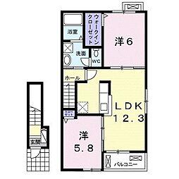 名鉄名古屋本線 小田渕駅 徒歩4分の賃貸アパート 2階2LDKの間取り