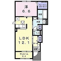 名鉄名古屋本線 小田渕駅 徒歩10分の賃貸アパート 1階1LDKの間取り