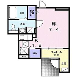 JR東北本線 宇都宮駅 徒歩14分の賃貸アパート 1階1Kの間取り