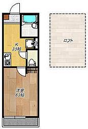 相鉄本線 西横浜駅 徒歩1分の賃貸アパート 3階1Kの間取り