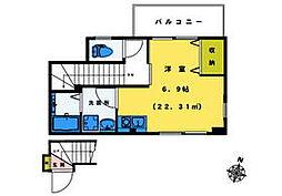 東京メトロ東西線 落合駅 徒歩1分の賃貸マンション 2階ワンルームの間取り
