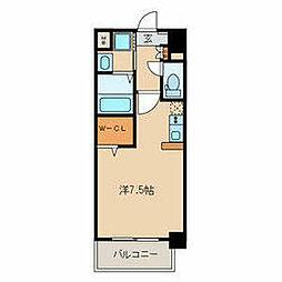 名鉄名古屋本線 山王駅 徒歩9分の賃貸マンション 4階ワンルームの間取り