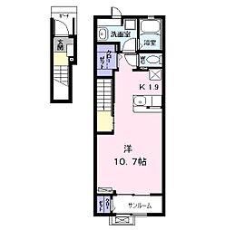名古屋市営東山線 中村日赤駅 徒歩12分の賃貸アパート 2階1Kの間取り
