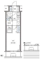 名古屋市営東山線 新栄町駅 徒歩8分の賃貸マンション 11階1Kの間取り