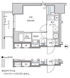 名古屋市営東山線 新栄町駅 徒歩8分の賃貸マンション 12階1Kの間取り