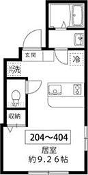 東京メトロ南北線 王子駅 徒歩10分の賃貸マンション 4階ワンルームの間取り
