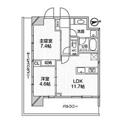 都営浅草線 高輪台駅 徒歩5分の賃貸マンション 7階2LDKの間取り