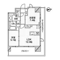 都営浅草線 高輪台駅 徒歩5分の賃貸マンション 9階2LDKの間取り
