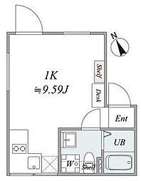 JR山手線 恵比寿駅 徒歩3分の賃貸マンション 2階1Kの間取り