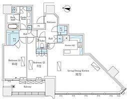 JR山手線 渋谷駅 徒歩9分の賃貸マンション 38階2LDKの間取り