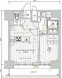 京急本線 新馬場駅 徒歩5分の賃貸マンション 12階1LDKの間取り