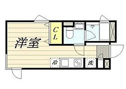 東京メトロ丸ノ内線 新宿三丁目駅 徒歩8分の賃貸マンション 3階ワンルームの間取り