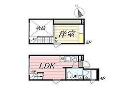 東京メトロ丸ノ内線 新宿三丁目駅 徒歩8分の賃貸マンション 4階1LDKの間取り