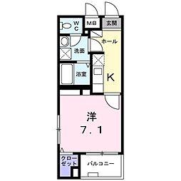 西武多摩川線 白糸台駅 徒歩3分の賃貸マンション 2階1Kの間取り