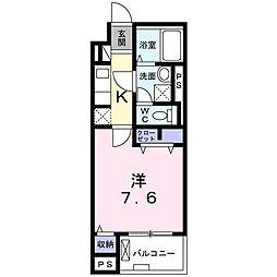 京王線 東府中駅 徒歩11分の賃貸マンション 2階1Kの間取り