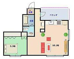 東京メトロ東西線 門前仲町駅 徒歩9分の賃貸マンション 5階1LDKの間取り