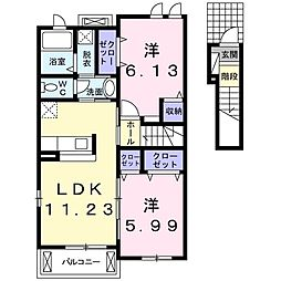 JR東海道本線 愛知御津駅 徒歩16分の賃貸アパート 2階2LDKの間取り