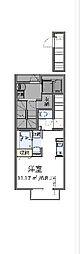 多摩都市モノレール 桜街道駅 徒歩4分の賃貸アパート 2階ワンルームの間取り