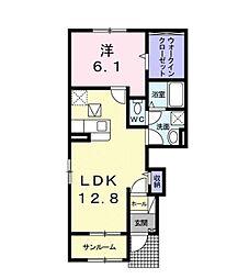 福岡市地下鉄七隈線 野芥駅 バス15分 仙道下車 徒歩7分の賃貸アパート 1階1LDKの間取り
