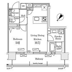東京メトロ有楽町線 豊洲駅 徒歩12分の賃貸マンション 2階1LDKの間取り