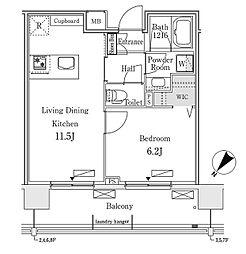 東京メトロ有楽町線 豊洲駅 徒歩12分の賃貸マンション 5階1LDKの間取り